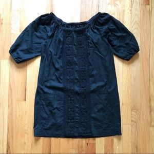 Anthropologie Black Shift Dress with Lace Detail